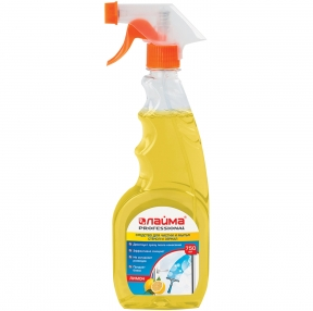 Средство для мытья стекол и зеркал 750 мл, ЛАЙМА PROFESSIONAL, Лимон, распылитель (604653)