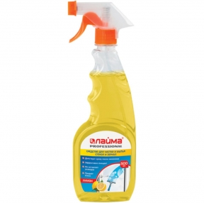 Средство для мытья стекол и зеркал 500 мл, ЛАЙМА PROFESSIONAL, Лимон, распылитель (604652)