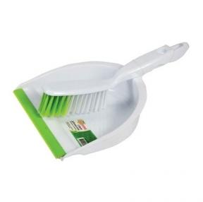 Совок для мусора ЛЮБАША со щеткой-сметкой, пластик, резиновая кромка (603615)