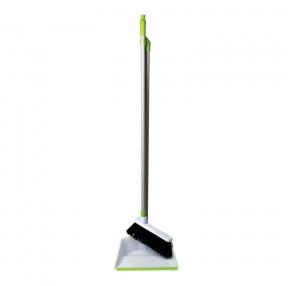 Совок для мусора со щеткой-сметкой, ЛЮБАША , стальная ручка 80 см, пластик, резиновая кромка, (603616)
