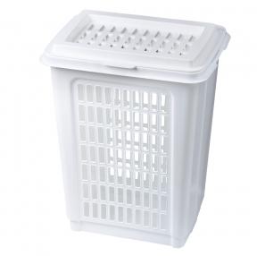 Корзина 50 л, с крышкой, для мусора/белья, прямоугольная, пластик, 56×45×36 см, белая, 4339900 (601120)