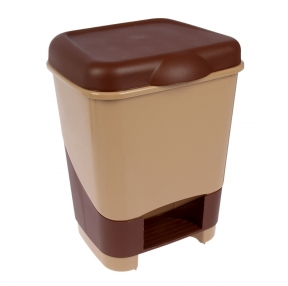 Ведро-контейнер 20 л, с крышкой и педалью, для мусора, 43×32×32 см, цвет серый, бежевый/коричневый 601128)