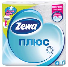 Бумага туалетная ZEWA Plus, 2-х слойная, спайка 4 шт. х 23 м, белая