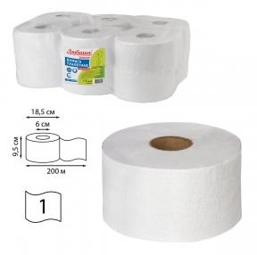 Бумага туалетная ЛЮБАША (Система T2) 1-слойная 12 рулонов по 200 метров, отбеленная (124546)
