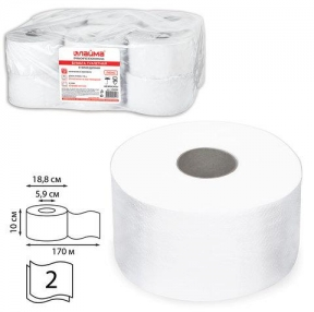 Бумага туалетная 170 м, LAIMA PREMIUM (Система Т2), комп. 12 шт., люкс, 2-х слойная, белая (126092)