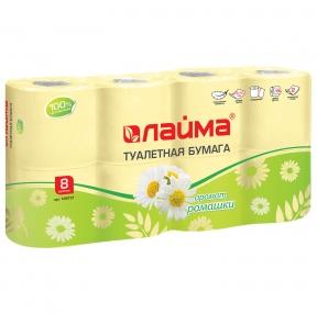 Бумага туалетная бытовая, спайка 8 шт., 2-х слойная (8×19 м), ЛАЙМА, ромашка (128721)