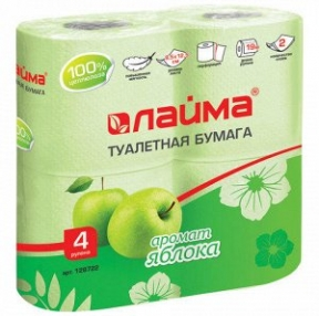 Бумага туалетная, ЛАЙМА, 4 шт., 2-х слойная, 4×19 м, аромат яблока (128722)