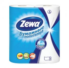 Полотенца бумажные бытовые,ZEWA, спайка 2 шт., 2-х слойные (2×14 м), белы