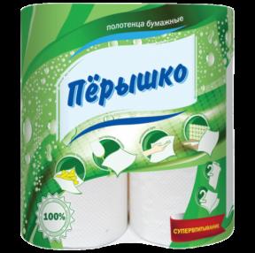 Полотенца бумажные бытовые, в спайке 2 шт., 2-х слойные (2×13 м), Перышко, белые (125264)