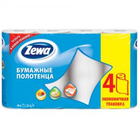 Полотенце бумажное ZEWA 2-х слойное, спайка 4 шт. х 15 м, белое