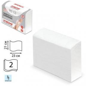 Полотенце бумажное ЛАЙМА (Система H2) ЛЮКС, Комп. 190 шт., 2-слойное, белое, 23×21 (Interfold, ZZ, Multifold), (126559)