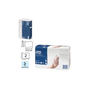 Полотенце бумажное Комп. 190 шт., TORK (Система H2) Advanced, 2-слойное, белый, 23,4×21,3 см, Multifold (127069)