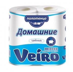 Полотенца бумажные бытовые,VEIRO, Домашние, спайка 2 шт., 2-х слойные (2×12,5 м), белые (128030)