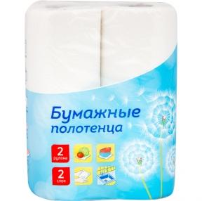 Полотенца бумажные в рулонах OfficeClean, 2-слойные, 9,6м, белые, 2шт. (249813)