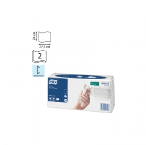 Полотенце бумажное Комп. 120 шт., TORK (Система H3) Advanced, 2-слойное, белый, 24×27,5, Singlefold (471114)
