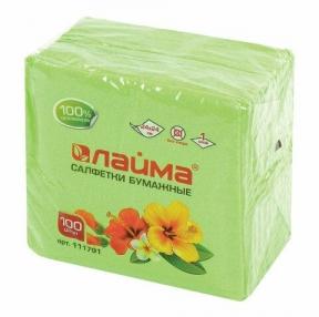 Салфетки бумажные 100 шт., 24×24 см, ЛАЙМА, зеленые, 100% целлюлоза (111791)