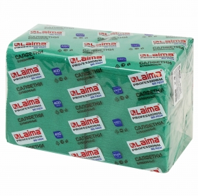 Салфетки бумажные 400 шт., 24×24 см, ЛАЙМА, Big Pack, зеленые, 100% целлюлоза (111796)