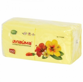 Салфетки бумажные, 250 шт., 24×24 см, ЛАЙМА, желтые, 100% целлюлоза (111948)