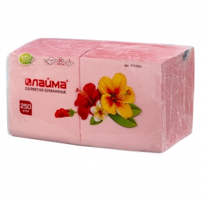 Салфетки бумажные, 250 шт., 24×24 см, ЛАЙМА, красные, 100% целлюлоза (111950)