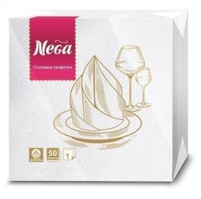 Салфетки бумажные, 50 шт., 24×24 см, 2-х слойные, NEGA, белые, 100% целлюлоза (125317)