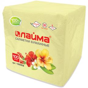 Салфетки ЛАЙМА, 24×24 см, 100 шт., жёлтые, 100% целлюлоза