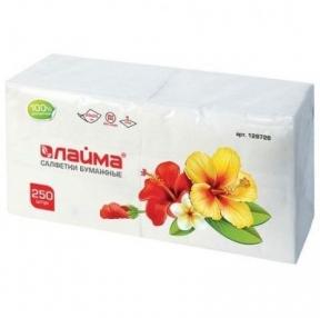 Салфетки бумажные, 250 шт., 24×24 см, ЛАЙМА, белые, 100% целлюлоза (128728)