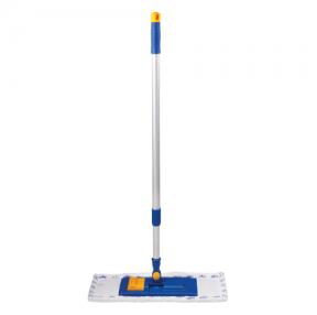 Швабра ЛАЙМА, телескопическая ручка, пластиковый держатель 40 см, насадка МОП микрофибра/абразив