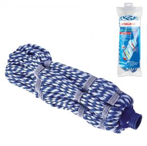 Насадка МОП для швабры самоотжимной ЛАЙМА, веревочная, длина ворса 33 см, микрофибра, швабра 601471