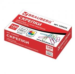 Скрепки BRAUBERG, 28 мм, цветные, 100 шт., в картонной коробке, Россия (220555)