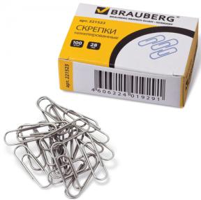 Скрепки BRAUBERG 28 мм никелированные, 100 шт., в карт. коробке
