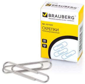 Скрепки BRAUBERG 50 мм никелированные, 50 шт., в карт. коробке