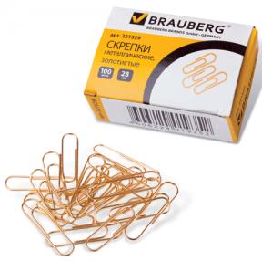Скрепки BRAUBERG 28 мм золот., 100 шт., в карт. коробке