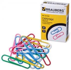 Скрепки BRAUBERG 50 мм цветные, 50 шт., в карт. коробке