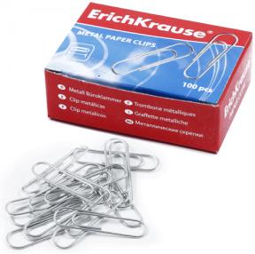 Скрепки ERICH KRAUSE 28 мм металл., 100 шт., в карт. коробке