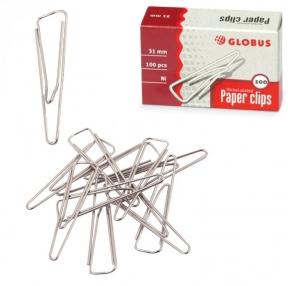 Скрепки, 31 мм, никелированные, с загнутым краем, треугольные, 100 шт., в картонной коробке (224971)