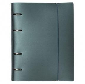 Тетрадь на кольцах А5 (175×220 мм), 120 л., пластиковая обложка, клетка, с фиксирующей резинкой, HATBER, METALLIC, тёмно-синий (334461)