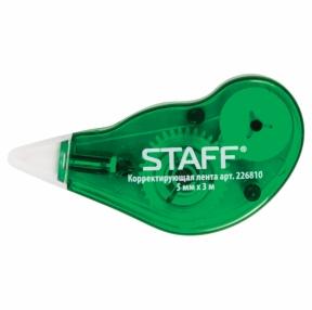 Корректирующая лента STAFF EVERYDAY, 5 мм х 3 м, корпус зеленый, с подкручиванием, блистер, (226810)