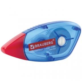 Корректирующая лента BRAUBERG 5 мм х 8 м, корпус синий, механизм перемотки, блистер (227801)