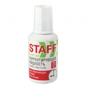 Корректирующая жидкость STAFF EVERYDAY, быстросохнущая, 20 мл, с кисточкой (228625)