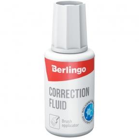Корректирующая жидкость Berlingo, 20мл, на химической основе, с кистью (255110)