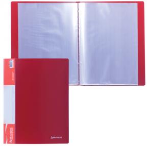 Папка  20 вклад. BRAUBERG Стандарт, красная, 0,6мм