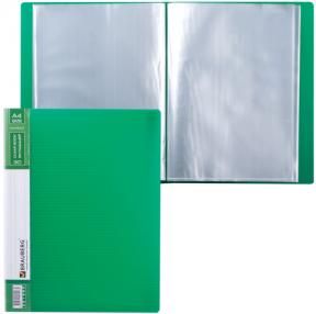 Папка 30 вкладышей BRAUBERG «Contract» , зеленая, вкладыши-антиблик, 0,7 мм, бизнес-класс