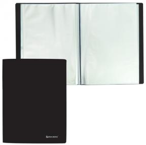 Папка 100 вкладышей BRAUBERG  бюджет, черная, 0,8 мм