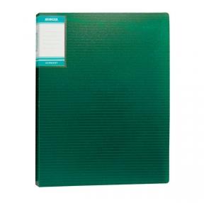 """Папка с файлами А4 STANGER """"HOR LINES"""", 20 файлов, пластиковая, с карманом,зеленая (059574)"""
