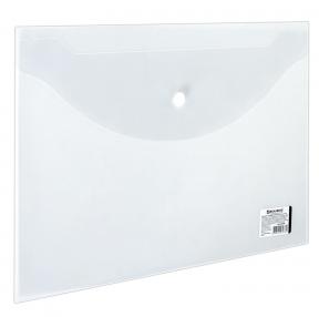 Папка-конверт с кнопкой BRAUBERG А4, прозрачная, до 100 листов, 0,15мм (221638)