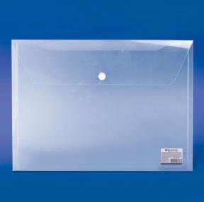 Папка-конверт с кнопкой BRAUBERG А4, прозрачная, до 100 листов, 0,15мм