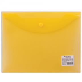 Папка-конверт с кнопкой BRAUBERG А5 240*190мм, прозрачная , желтая, 0,15мм