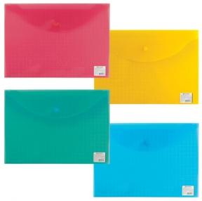 Папка-конверт с кнопкой BRAUBERG «My CLEAR BAG», А4, 150 мкм, до 100 листов, прозрачная, ассорти (225174)