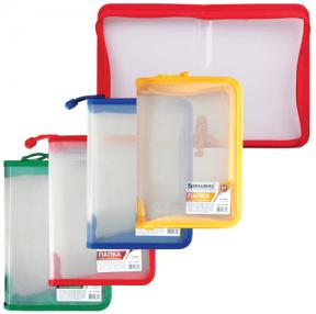 Папка на молнии пластиковая BRAUBERG , Диагональ, А5, 235×165 мм, прозрачная, молния ассорти
