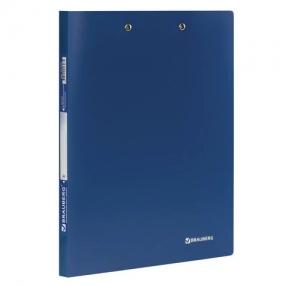 Папка с 2-мя металлическими прижимами BRAUBERG стандарт, синяя, до 100 листов, 0,6 мм (221625)